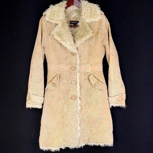 Steve Madden Corduroy Trench Coat Small Faux Fur